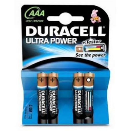 PILA ALCALINA LR03/MX2400 AAA ULTRA POWER+TESTER (PACK 4 UDS) DURACELL