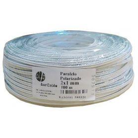 Cable paralelo 2x1 polarizado blanco-gris Ibercable (rollos de 100 mts)