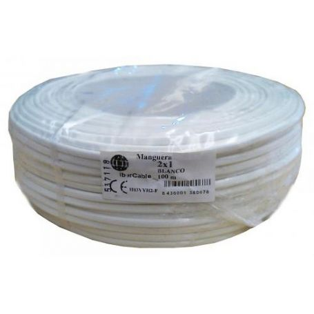 Manguera redonda 2x1,5mm blanco (rollo de 100 mts) Ibercable