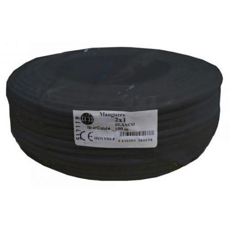 Cable manguera redonda 2x1,5mm negro (rollo de 100 mts) Ibercable