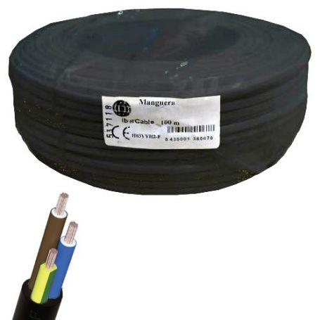 Cable manguera redonda 3x1mm negro (rollo de 100 mts) Ibercable