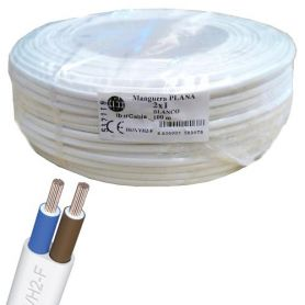 Cable manguera plana 2x1mm blanco (rollo de 100 mts) Ibercable