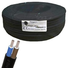 Cable manguera plana 2x0,75mm negro (rollo de 100 mts) Ibercable