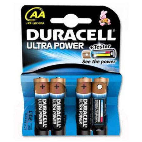 PILA ALCALINA LR6/MX1500 AA ULTRA POWER+TESTER (PACK 4 UDS) DURACELL