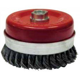 Cepillo metálico copa hilo acero trenzado 80mm M14 hilo 0.50 Leman