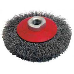 Cepillo metálico cuveta hilo acero ondulado 100mm M14 hilo 0.30 Leman