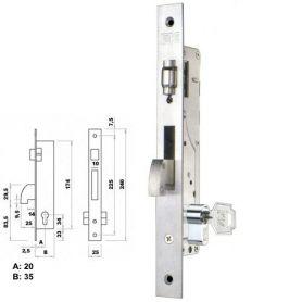 Cerradura de embutir perfil metálico Fac 7007/20-05 rodillo y gancho
