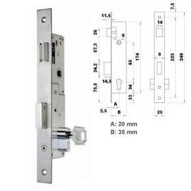Cerradura de embutir perfil metalico Fac 7002/20-05 picaporte y palanca