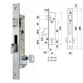 Cerradura de embutir perfil metalico Fac 7003/20-05 picaporte y gancho basculante
