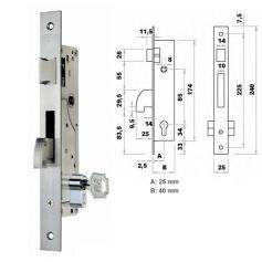 Cerradura de embutir perfil metalico Fac 7003/25-05 picaporte y gancho basculante