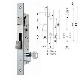 Cerradura de embutir perfil metalico Fac 7008/20-05 picaporte y palanca basculante