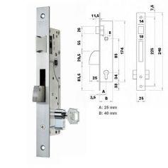 Cerradura de embutir perfil metalico Fac 7008/25-05 picaporte y palanca basculante