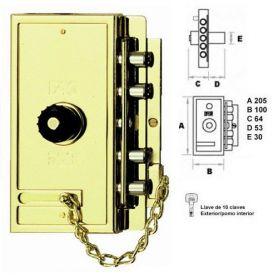 Cerradura sobreponer Fac MB PP dorada