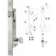 Cerradura de embutir perfil metálico Fac 7001 picaporte - 25mm