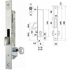 Cerradura de embutir perfil metalico Fac 7006/25-05 gancho basculante