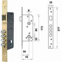 Cerradura embutir madera Fac 701/50 latón