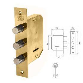 Cerradura embutir en madera Fac 480-B dorada