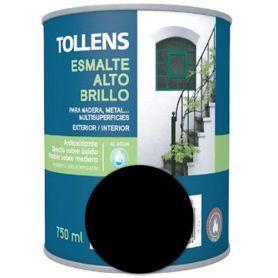 Esmalte al agua negro alto brillo 0,75 lt. Tollens