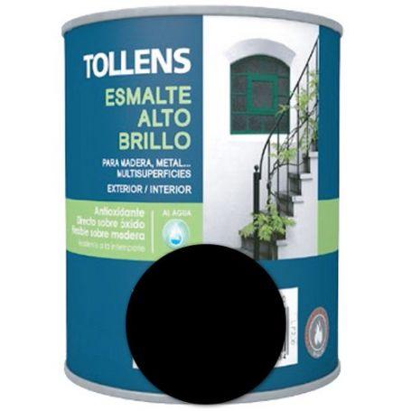 Esmalte al agua negro alto brillo 4 lt. Tollens