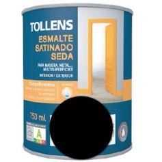 Esmalte al agua negro satinado seda 0,75 lt. Tollens