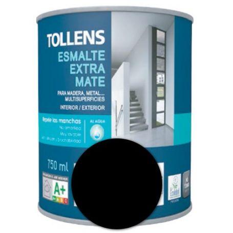 Esmalte al agua negro extra mate 0,75 lt. Tollens