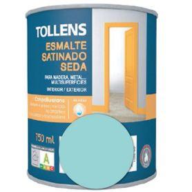 Esmalte al agua aguamarina satinado seda 0,75 lt. Tollens