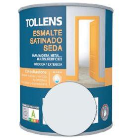 Esmalte al agua gris angora satinado seda 4 lt. Tollens
