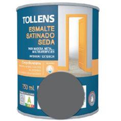 Esmalte al agua gris grafito satinado seda 0,75 lt. Tollens