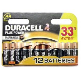 Pila alcalina LR06 AA Duracell pack 12 unidades