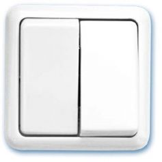 Doble conmutador de superficie blanco 65x65mm 10A 250V GSC Evolution