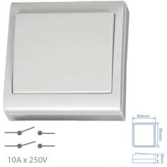 Interruptor bipolar superficie blanco 80x80mm 10A 250V GSC Evolution