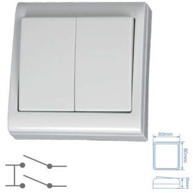 Doble conmutador de superficie blanco 80x80mm 10A 250V GSC Evolution