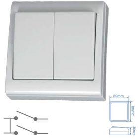 Doble conmutador de superficie blanco 80x80mm 10A 250V GSC Evolution