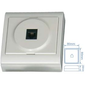 Base superficie telefono 6P4C 80x80mm blanco 16A 250W GSC Evolution