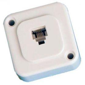 Roseta teléfono 6P4C blanco montaje a tornillo GSC Evolution