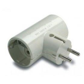 Adaptador doble TT lateral 16A/250V portacontactos en cerámica