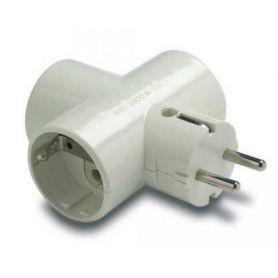 Adaptador triple TT lateral 16A 250V portacontactos en cerámica reforzado Famatel