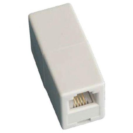 Adaptador/prolongador telefono  hembra a hembra 6P4C blanco GSC Evolution