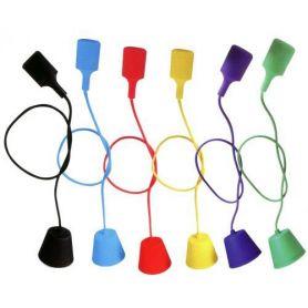 Portalámparas silicona E27 cable textil 1m azul GSC Evolution