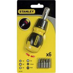 Destornillador multipuntas extra-corto con carraca 6 puntas Stanley