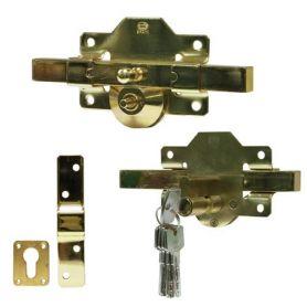 Cerrojo seguridad 1E 88x153mm dorado Amig