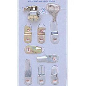 Kit cerraduras nº2 dorado blister de 7 lengüetas BTV