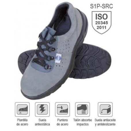 Zapato seguridad serraje perforado talla 44 mod SA-325 Chintex