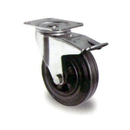 Rueda con base con freno goma negra GSR 100/27 Premium Cascoo