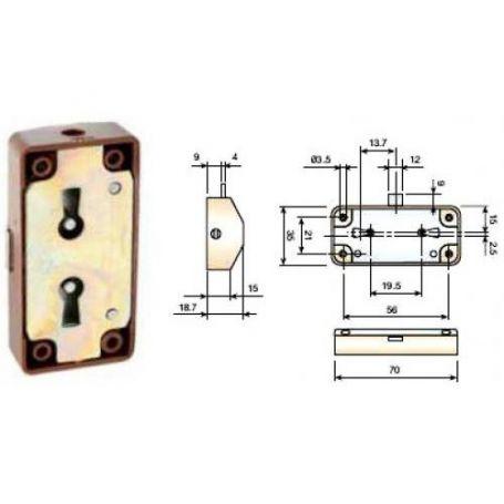 Cerradura Falleba marrón 15mm llave latonada Cufesan