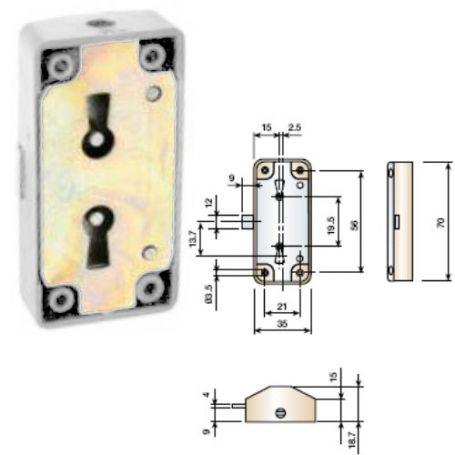 Cerradura falleba blanca 15mm llave latonada Cufesan