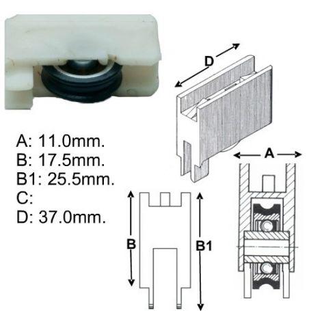 Rueda con rodamiento CO 22 plástico Cufesan