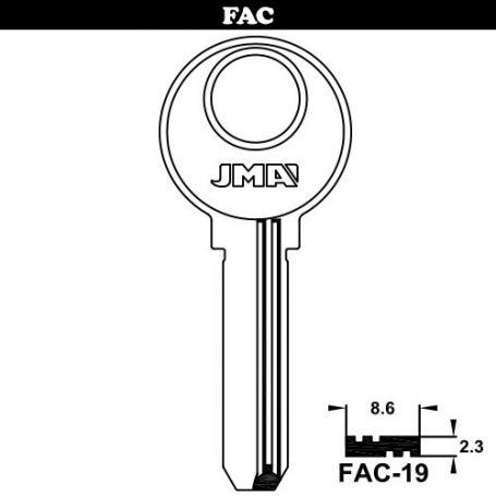 Llave de seguridad modelo FAC-19 de acero (bolsa 10 unidades) JMA