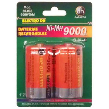 Bateria recargable Ni-MH 9000 mAh. R-20/D (2 unidades) DH