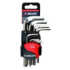 Juego de 9 llaves Allen niqueladas doble clip Bellota 6458-9n